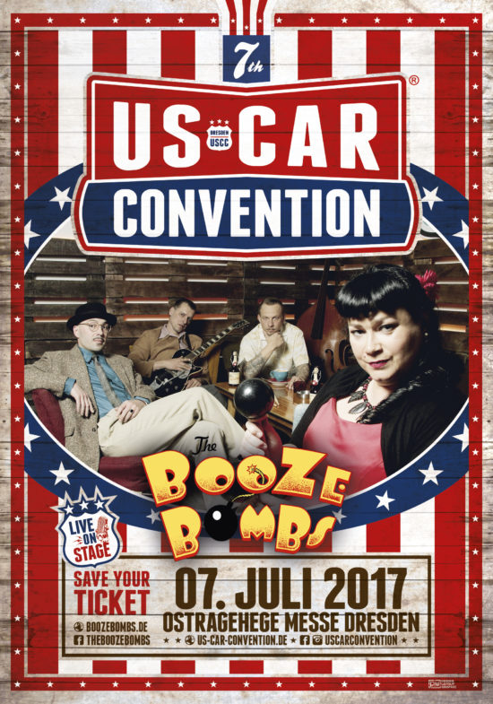 2017-07-07_uscc-dresden_the-booze-bombs_A5-flyer_front_vFinal © US CAR CONVENTION Dresden © Paranoid World /// Thomas Liepelt